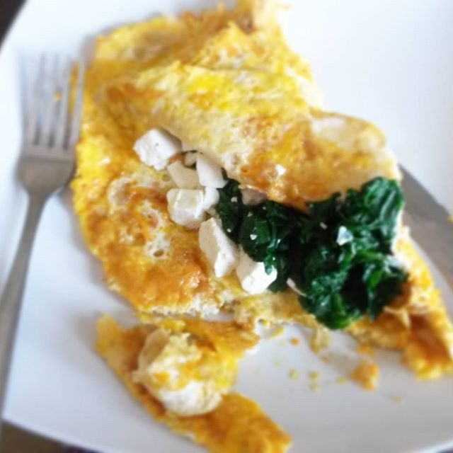 Breakfast - spinach, feta and sweet potato omelette